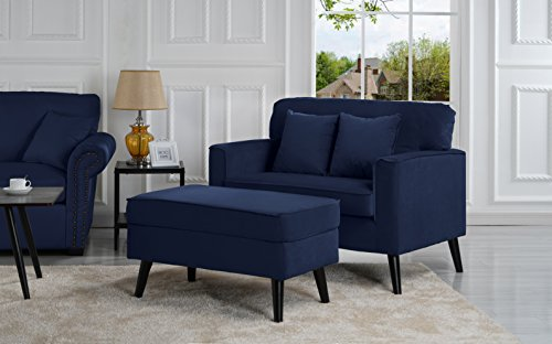 Mid-Century Modern Living Room Large Accent Chair with Footrest/Storage Ottoman (Royal Blue) (Chair And A Half And Ottoman Set)