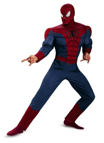 Disguise Men's Marvel The Amazing Movie 2 Spider-Man Classic Muscle Costume, Blue/Red/Black, (Mens Black Spiderman Costume)
