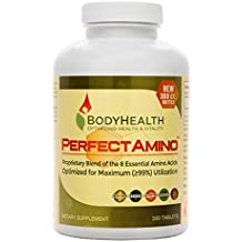 PerfectAmino 8 Essential Amino Acids with BCAA by BodyHealth, Vegan Branched Chain Amino Energy, Fat Burner & Weight Loss Pre Post Workout Supplements for Men and Women, 99% Utilization, 300 Tablets