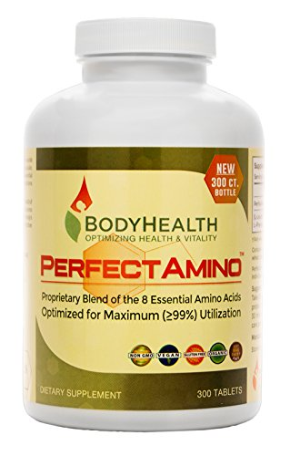 PerfectAmino (300 Tablets) 8 Essential Amino Acid Tablets with BCAA by BodyHealth, Vegan Branched Chain Protein Pre/Post Workout, Increase Lean Muscle Mass, Boost Energy & Stamina, 99% Utilization by BodyHealth