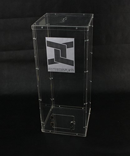 Fixture Displays Clear Plexiglass Acrylic Lucite Donation Box,Fund Raising Stand Display with Sign Holder 13192+12065 by FixtureDisplays