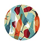 iPrint Polyester Round Tablecloth,Wine,Modern Design Colorful Silhouettes Glasses Bottles Fun Party Artistic Decorative,Light Blue Ruby Orange,Dining Room Kitchen Picnic Table Cloth Cover Outdoor Ind