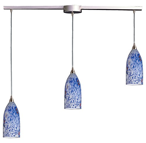 Verona 3 Light Pendant in Satin Nickel and Starburst Blue Glass