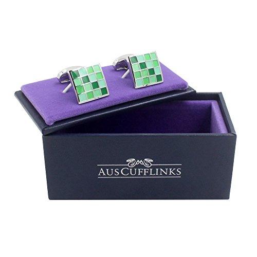 Jade Coral Green Cufflinks | 5 Yr Warranty | Gift Box Inc | 35th Anniversary Gift by AUSCUFFLINKS (Image #4)