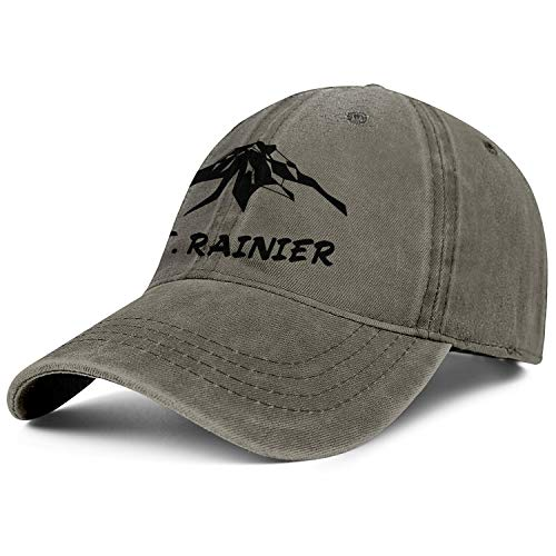 RUVBCGD MT.Rainier Cool Cotton Adjustable Mesh Caps Trucker Denim Baseball Hat Unisex