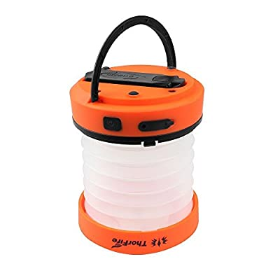ThorFire Camping LED Lantern Mini Flashlight Torch Light Lamp Collapsible Hiking Jogging USB Rechargeable Hand Crank or Powered By AA Batteries