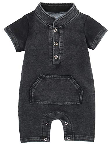A&J DESIGN Baby Boys' Denim Cargo Romper (9-12 Months, Black)