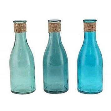 Hunky Dory Gifts Juego de 3 floreros Botella de Vidrio con Coastal Envuelta Yute Top náutico