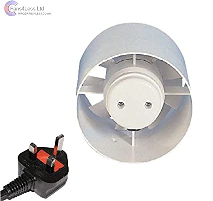 Manrose ID100 Inline Standard Bathroom Extractor Fan Plug Hydroponics 4' 100mm (ID100 4') fans4less