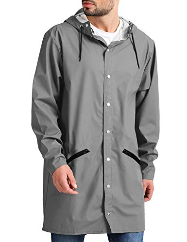 3/4 Length Raincoat - JINIDU Men's Lightweight Waterproof Rain Jacket Packable Outdoor Hooded Long Raincoat