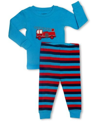 leveret-fire-truck-2-piece-pajama-100-cotton-3-years