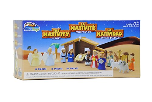 Nativity Playset for Children 19Piece by BibleToys. Includes Mary, Joseph, Baby Jesus. Christmas Toys for Children