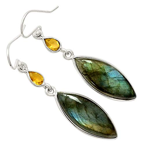 Earrings Labradorite Mystic (Xtremegems Labradorite & Citrine 925 Sterling Silver Earrings Jewelry 2