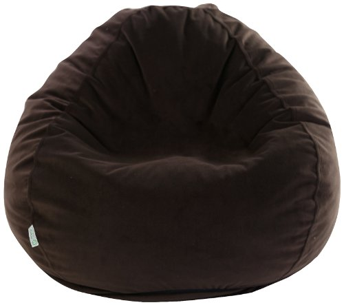 Majestic Home Goods Faux Suede Bean Bag, Small, Dark Brown