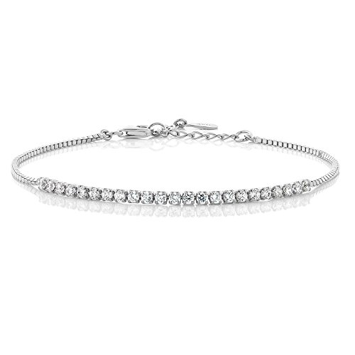 1.35 Ct Cubic Zirconia CZ Sterling Silver 7″ Bracelet with 2″ Extender