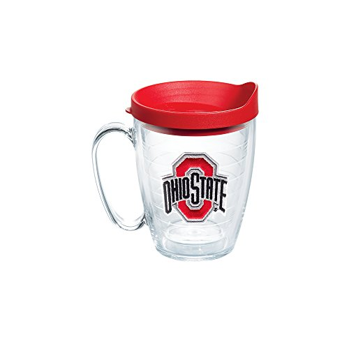 State Freezer Mug - Tervis 1056782 Ohio State Buckeyes Logo Tumbler with Emblem and Red Lid 16oz Mug, Clear