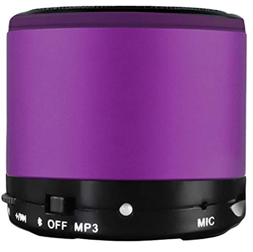 Mini Wireless Speaker Portable Wireless Bluetooth Speaker with HD Audio Enhanced Bass Built-in Noise-Cancelling Microphone Rechargeable Outdoor Speaker (Purple) -
