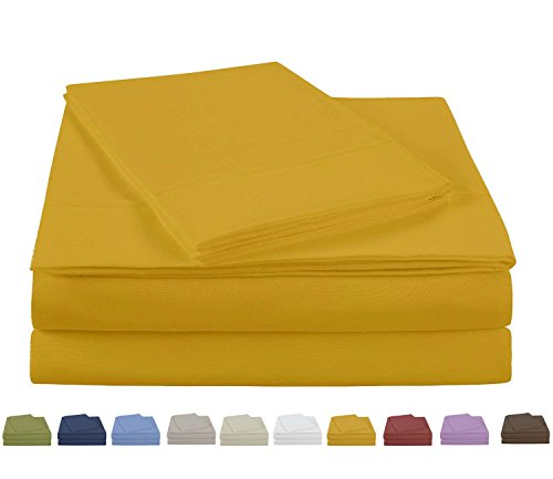 Eastend Home Fashions S900T Microfiber Solid Color Sheet Set, Full, Spicy Mustard
