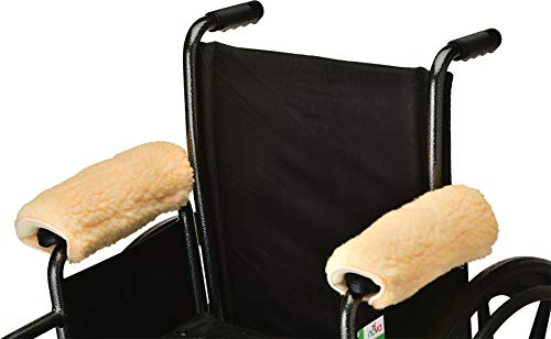 (Nova Sheepskin Fleece Armrest Covers for Wheelchairs, Transport Chairs & Arm Chairs, Universal Fit, Washable, One Pair)