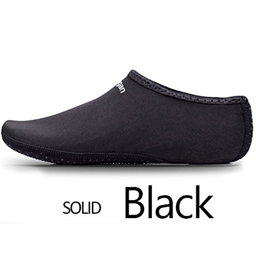 JIASUQI Kinder, Frauen und Herren Classic Barfuß Wassersport Haut Schuhe Aqua Socken für Beach Swim Surf Yoga Übung Schwarz