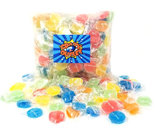 CrazyOutlet Pack - Truly Fruit Soft Jelly Candy Discs, Individually Wrapped Fruit Gems Treats, 2 lbs ()