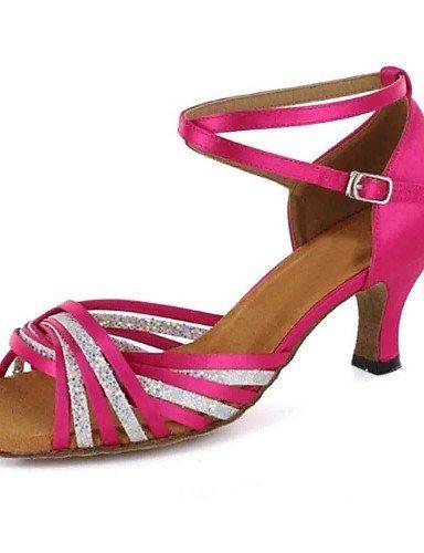 ShangYi sandales femmes latines personnalisées talon satin avec des chaussures de danse de buckie (plus de couleurs) , blue-us6 / eu36 / uk4 / cn36 , blue-us6 / eu36 / uk4 / cn36