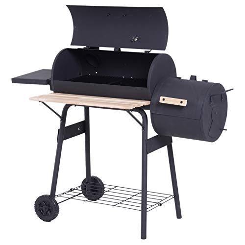 Outsunny Smoker Grill BBQ Holzkohlengrill Grillwagen Multifunktion mit 2 x Brennkammer Schornstein Metall + Tannenholz…