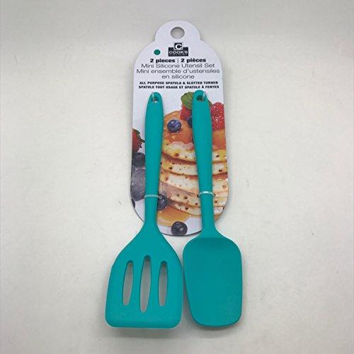Cook's Corner 2-Piece Mini Silicone Utensil Set - Spatula / Spoonula (Teal)