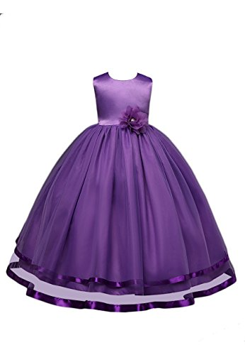 Price comparison product image OMZIN Girls Ruffles Dresses Baby Ball Gown Dress With Bowknot Purple 2-3 Years