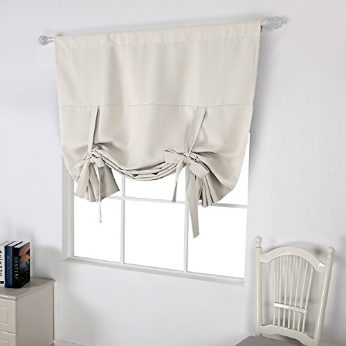 Deconovo Curtains Rod Pocket Blackout Window Curtain Tie
