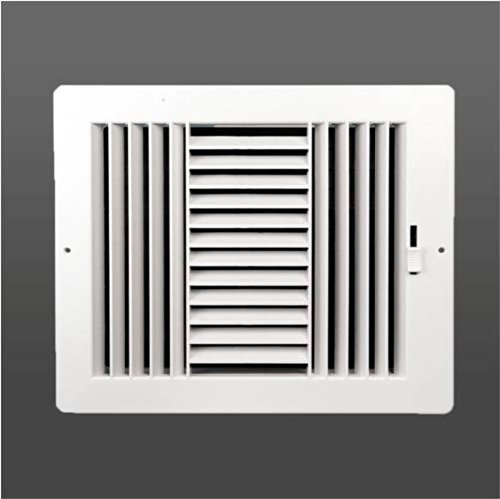 White Wall Register (Three-way plastic register side wall/ceiling air register with multi-shutter damper in white (4