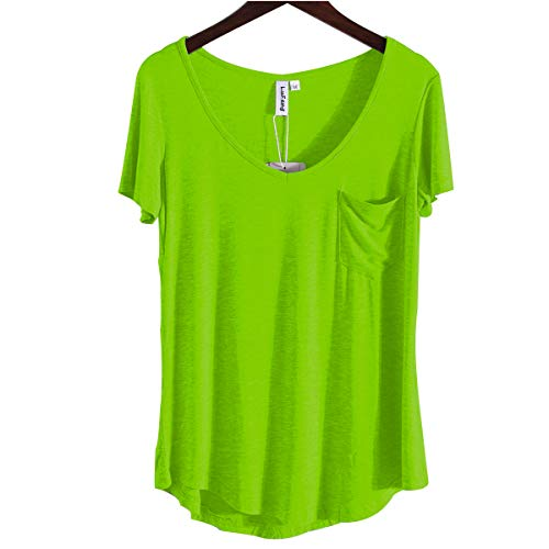 Jerseys Neon Green - LUFENG Women's Casual V Neck T-Shirt Short Sleeve High Low Tunic Loose Blouse Tops with Pocket