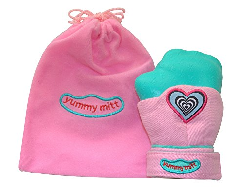 Yummy Mitt Teething Mitten -(Non-Glow) 3-12 Months Baby Self-Soothing Teething Mitt- BPA Free- 100% Certified Cotton (NOT Polyester) and Silicone, Pink -