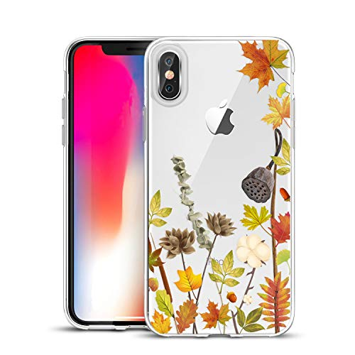 Everyday Is Like Halloween Lyrics (Unov Case Clear with Design Slim Protective Soft TPU Bumper Embossed Pattern [Support Wireless Charging] Cover for iPhone Xs Max 6.5 Inch(Leaves)