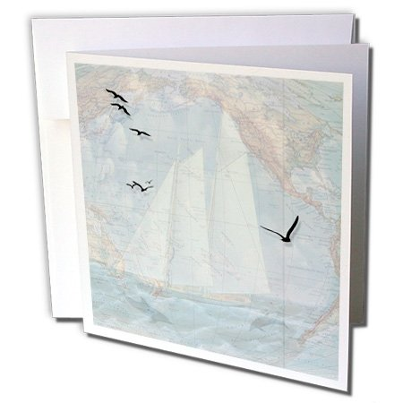 3dRose Vintage map and sailing ship with the ocean, seabirds and dolphins. Very masculine. - Greeting Cards, 6 x 6 inches, set of 6 (gc_127607_1) (Note Sailing)