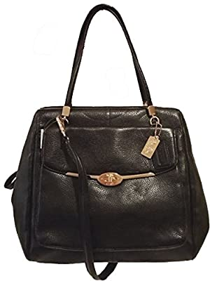 Coach Madison North/South Satchel in Leather (Black)