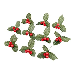 Yetaha 10 Pcs Artificial Leaf + Holly Berries for Wedding Party Home Decoration DIY Christmas Artificial Leaf Flower Silk Leaves 39