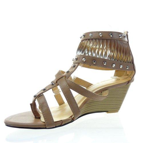 Kickly - Chaussure Mode Sandale Compensée Spartiates cheville femmes multi-bride clouté Talon compensé 6 CM - Intérieur synthétique - Taupe