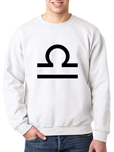 Trendy USA 954 - Crewneck Libra Symbol Zodiac Sign The Scales Unisex Pullover Sweatshirt XL White