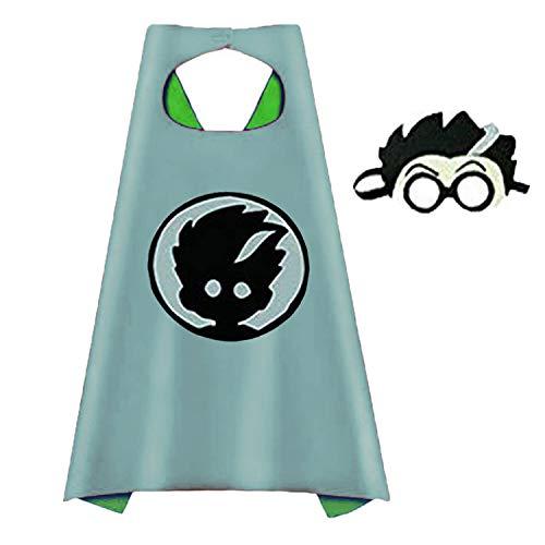Superhero Masks Costumes and Dress up for Kids - Superhero Catboy Owlette Gekko Capes and Masks 5 PCS (White 1pcs) ()