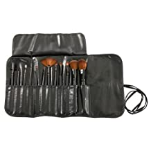 MASH 12pc Studio Pro Makeup Make Up Cosmetic Brush Set Kit w/ Leather Case - For Eye Shadow, Blush, Concealer, Etc (Black)