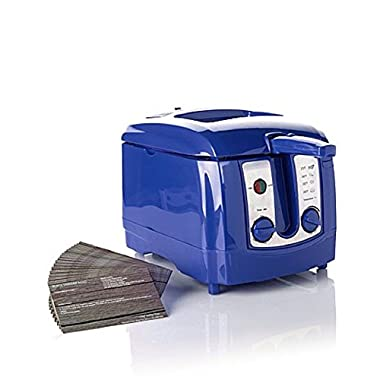 Simply Ming 1500-Watt Fast Fryer with Power of Ceramic Nonstick and 22 Recipes - Cobalt Blue
