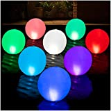 4. HAPIKAY Solar Floating Pool Lights - Pack of 2 Solar Powered Color Changing 14 inch Balls for Pool Garden Backyard Pond Decorations - Inflatable Floatable Hangable Wateproof RBG Lights