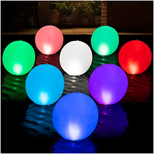 HAPIKAY Solar Floating Pool Lights - Pack of 2 Solar Powered Color Changing 14 inch Balls for Pool Garden Backyard Pond Decorations - Inflatable Floatable Hangable Wateproof RBG Lights