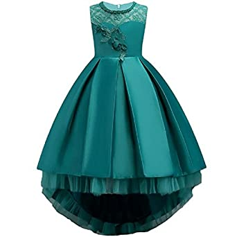 Moda Fina Baby Girl's Satin Floral Long Ball Gown Baby Girls at amazon