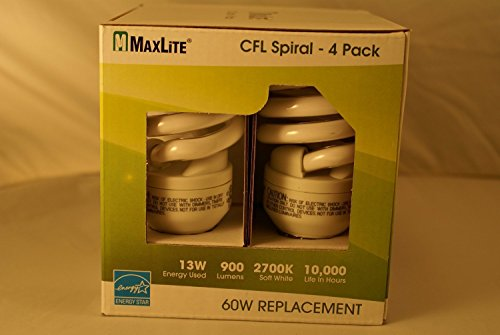 - MaxLite 13W=60W CFL Spiral Compact Fluorescent Lamp Soft White 4 Pack Bulbs