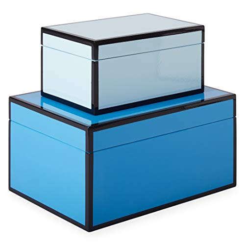 Now House by Jonathan Adler Chroma Lacquer Decorative Accessories Stacking Boxes, Blue ()