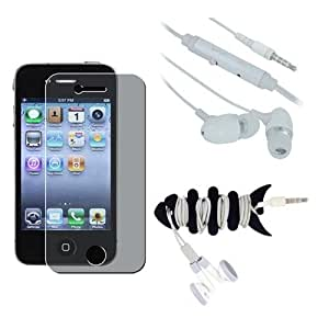 Premium Privacy Screen Protector + 3.5mm Earphone Stereo Headset + Fishbone Headset Wrap for Apple iPhone 4S 4G