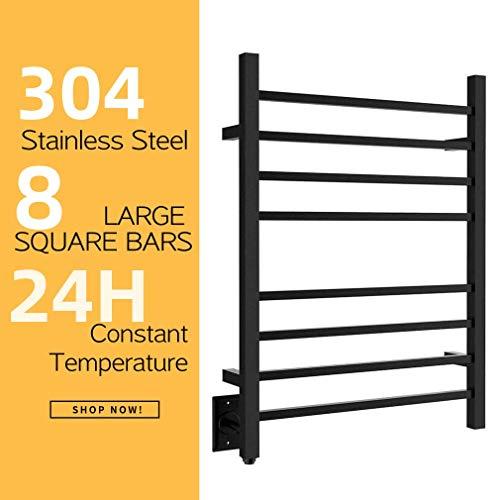 HEATGENE Hot Towel Warmer for Bath Heated Drying Rack 8 Square Bar Matte Black