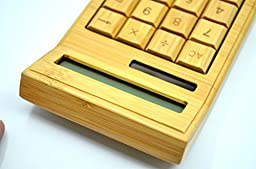 Eco-friendly Handmade Natural Bamboo Wooden 12 Digits Solar Power Calculator - with Solar panel (Model 1)-By VolksRose
